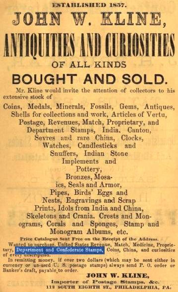 Jhn W Kline, antiquities+curiosities,112 8s