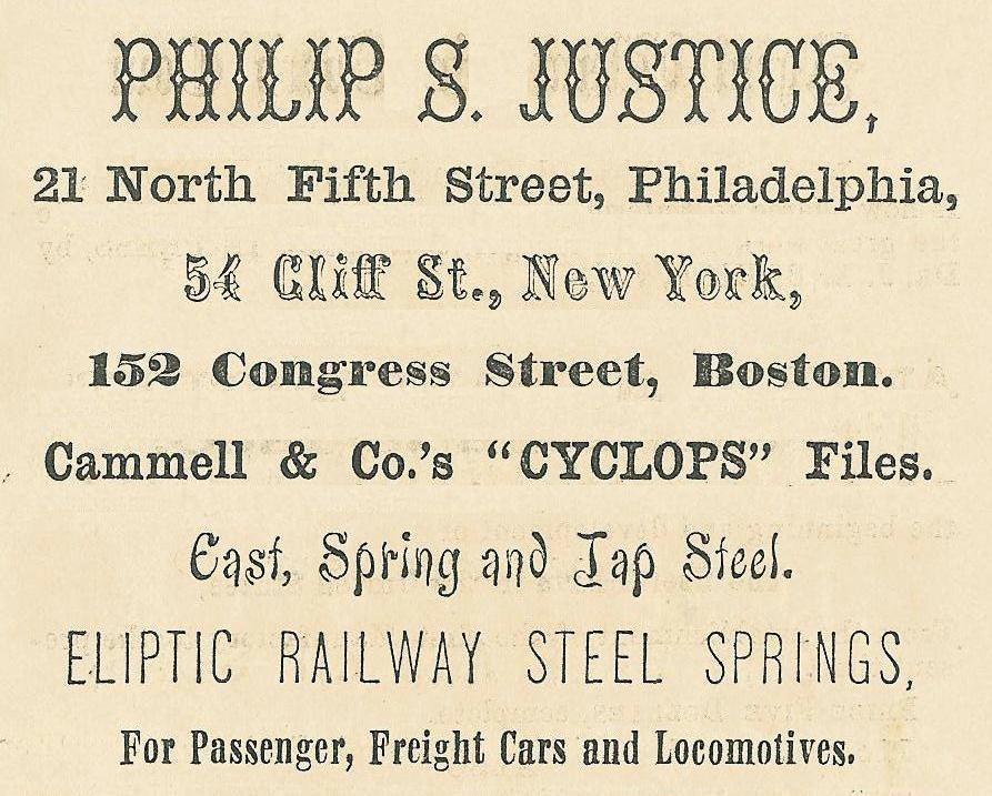 Justice Philip S Justice,Cyclops files+railway springs etc RIFLES PISTOLS SWORDS 21 5n COWELL BUS DIR 1860, p131