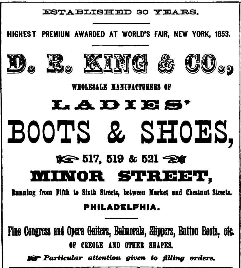 OOO King DR King+Co, ladies boots+shoes SHOES 517 21 Minor Freedley 1867 179