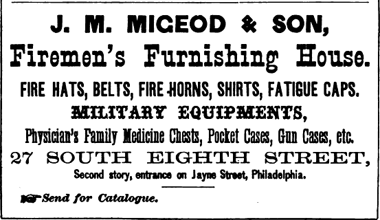Migeod JM Migeod+Son, firemens+military furnishings 27 8s 2nd fl Freedley 1867 532