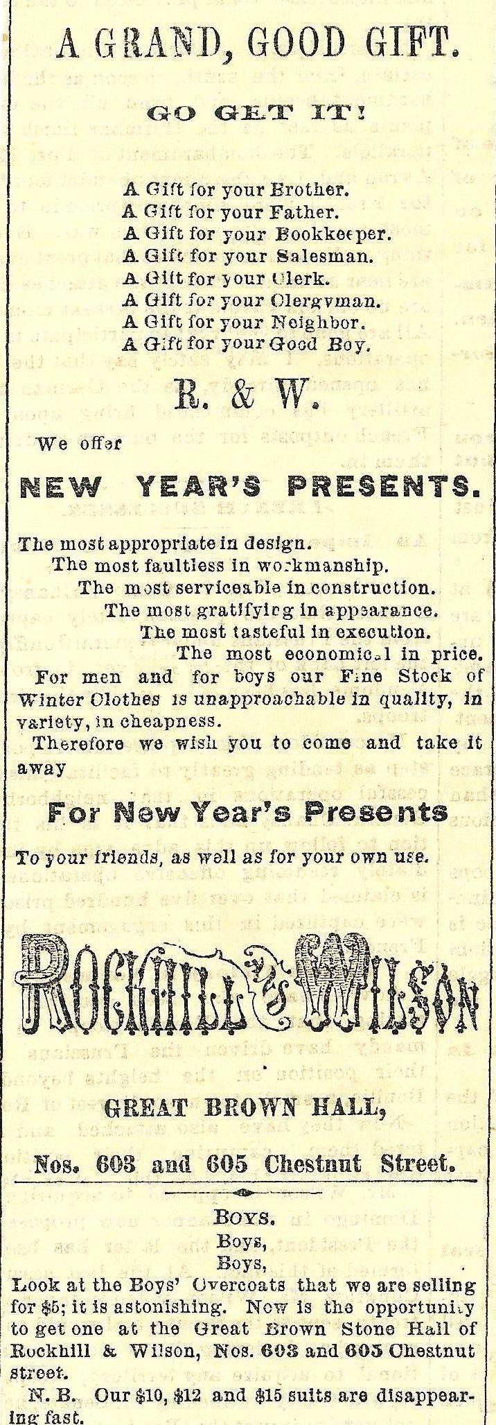 Rockhill+Wilson, boys overcoats 603 05 Chs MORNING POST 3 Jan 1871