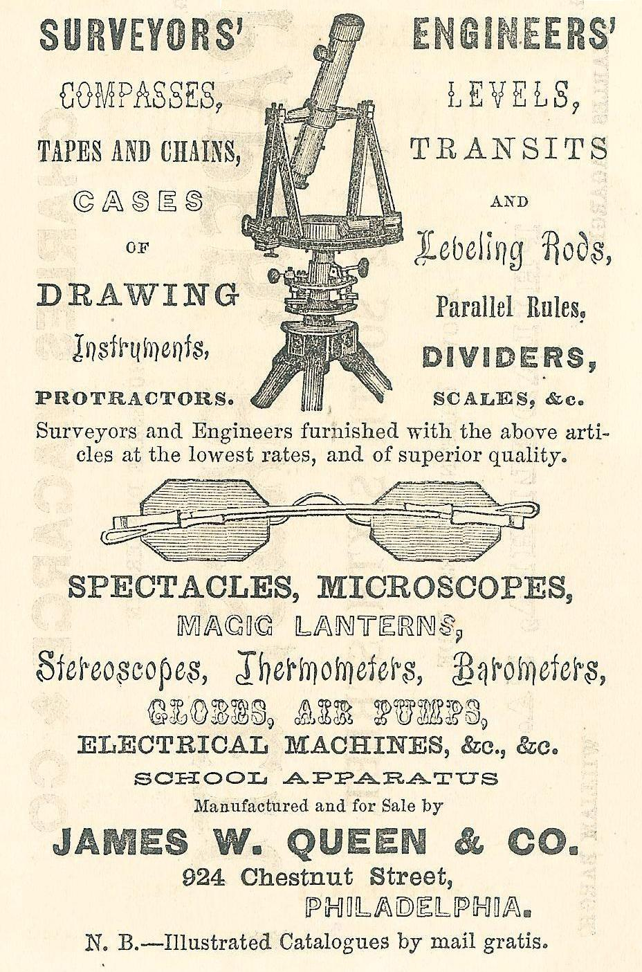 Jas W Queen+Co,spectacles,scientific instruments,924 Chs
